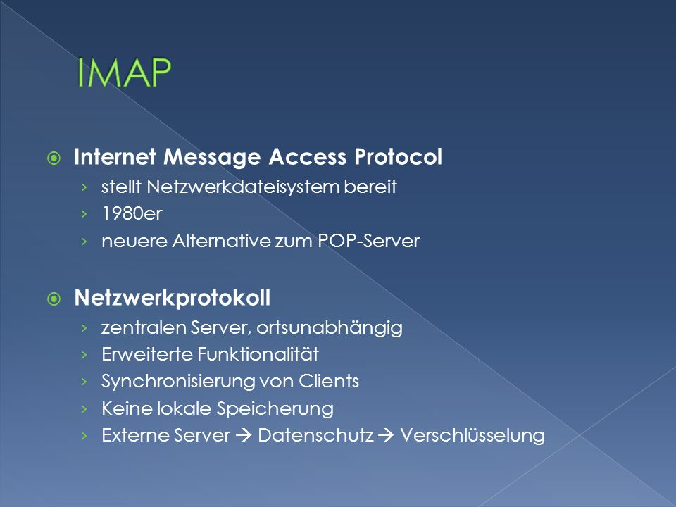 IMAP Internet Message Access Protocol Netzwerkprotokoll