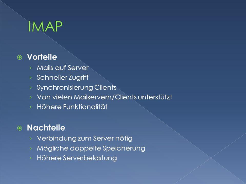 IMAP Vorteile Nachteile Mails auf Server Schneller Zugriff