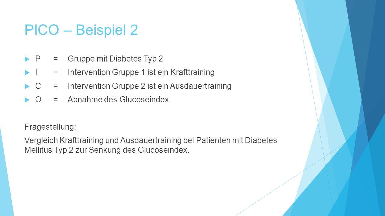 PICO – Beispiel 2 P = Gruppe mit Diabetes Typ 2