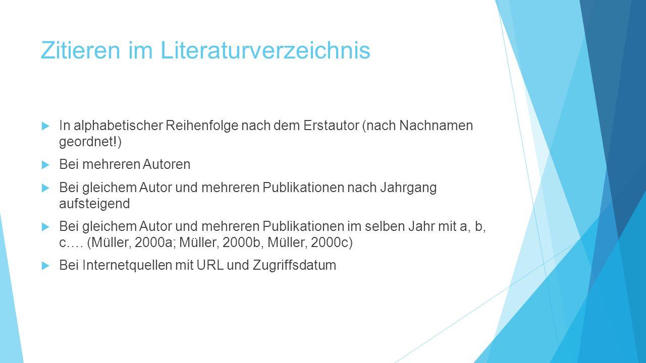 Zitieren im Literaturverzeichnis