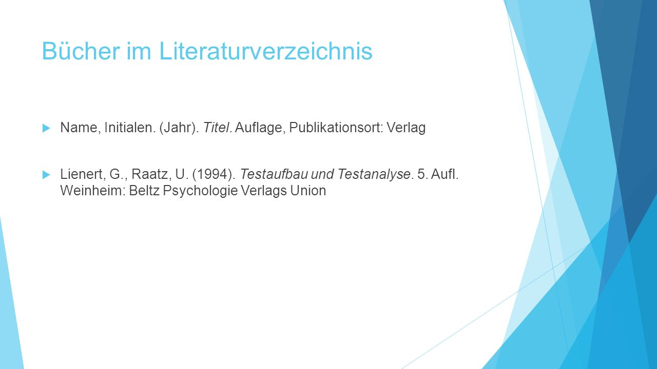 Bücher im Literaturverzeichnis