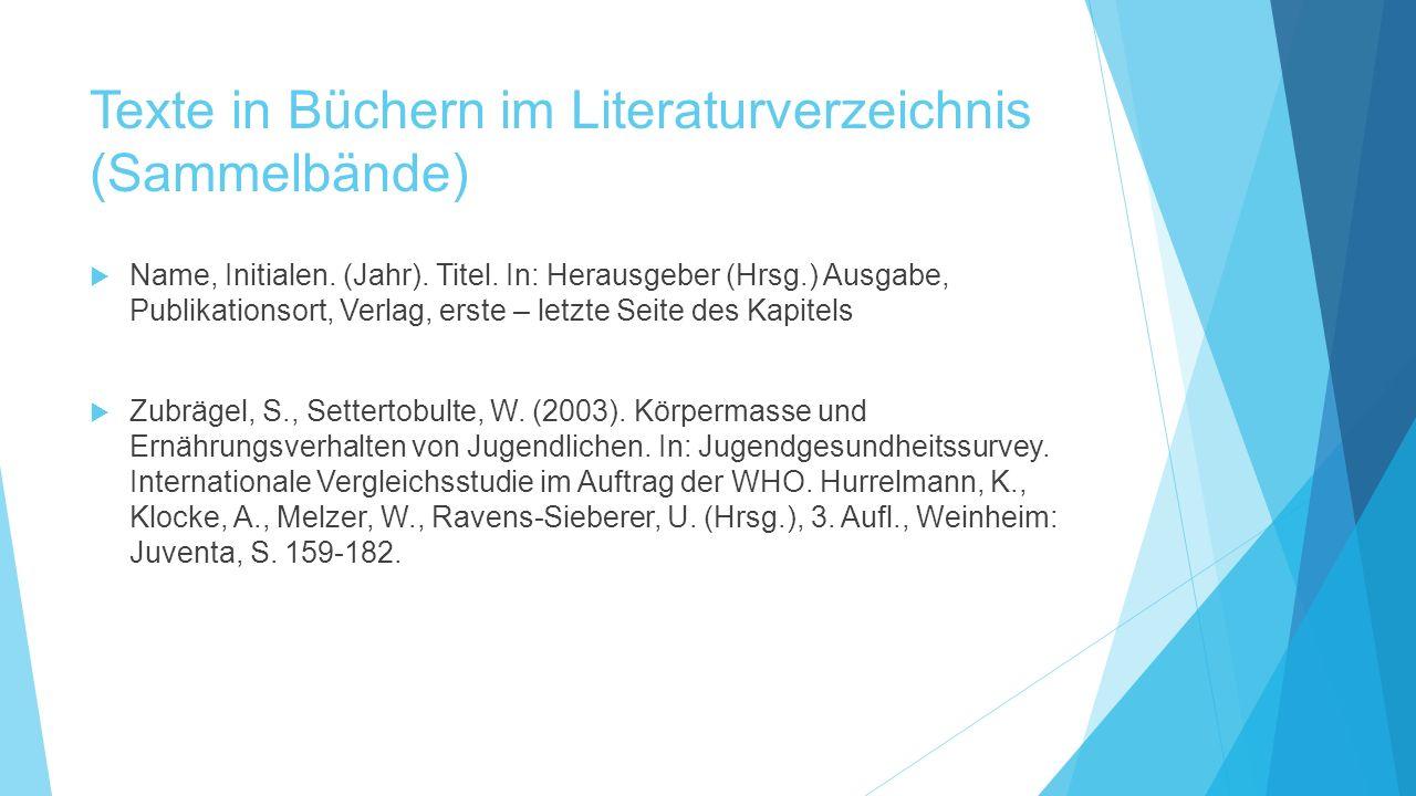 Texte in Büchern im Literaturverzeichnis (Sammelbände)