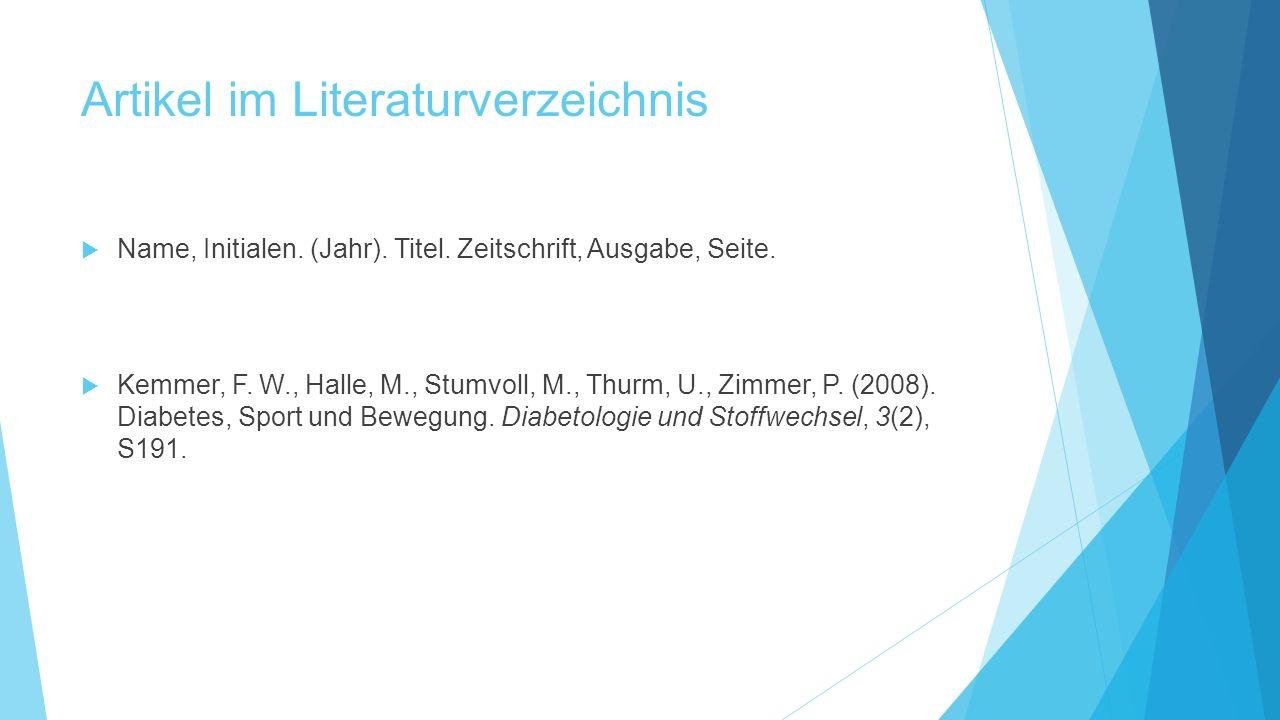 Artikel im Literaturverzeichnis