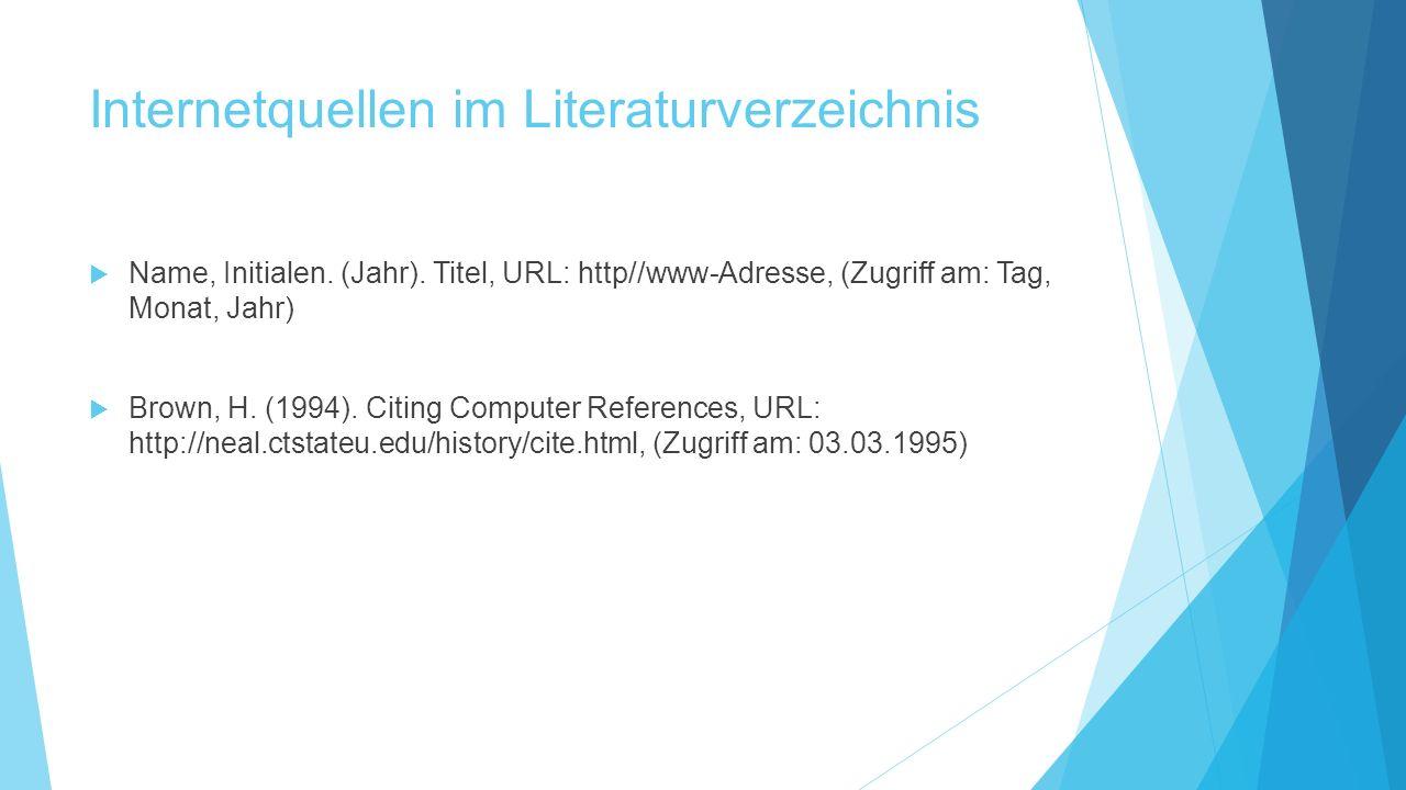 Internetquellen im Literaturverzeichnis