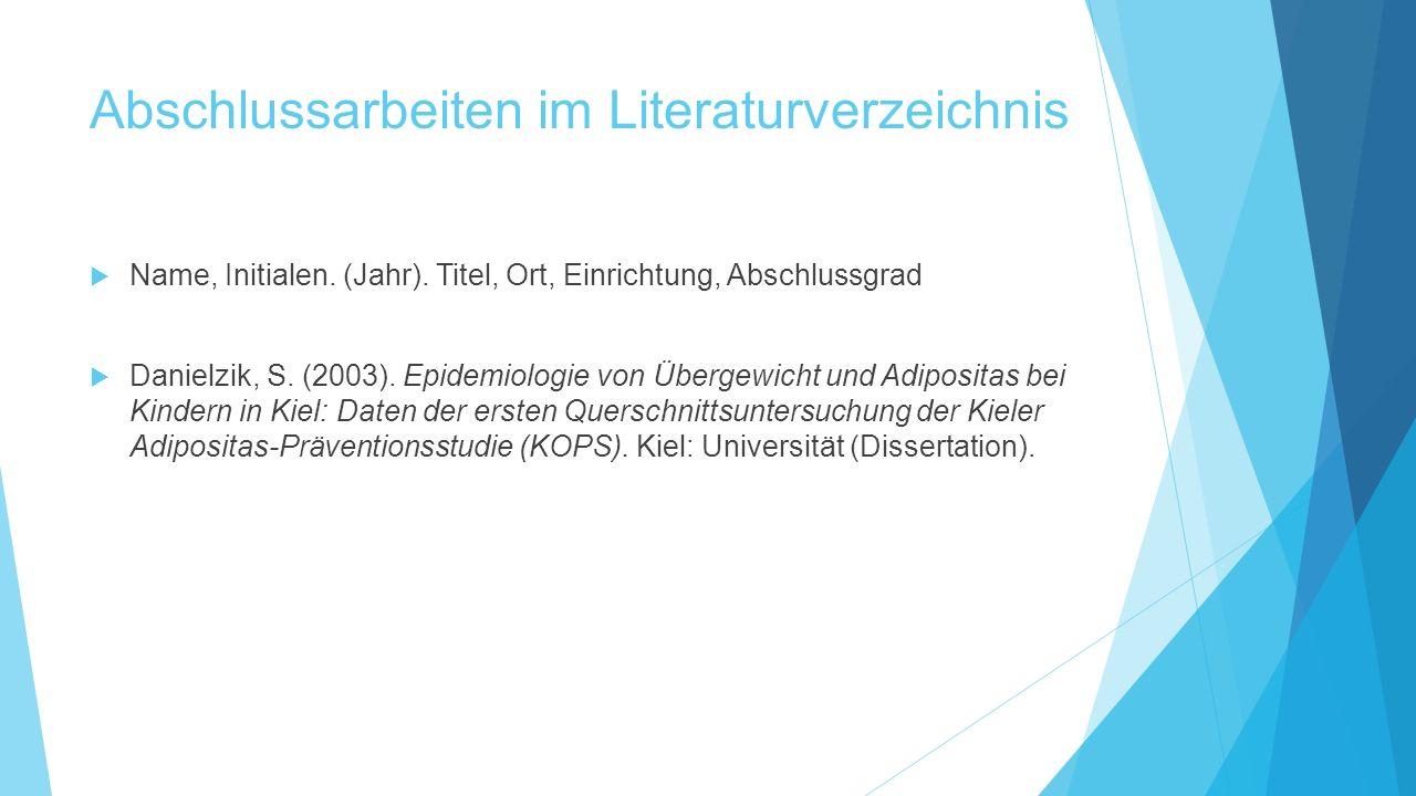 Abschlussarbeiten im Literaturverzeichnis