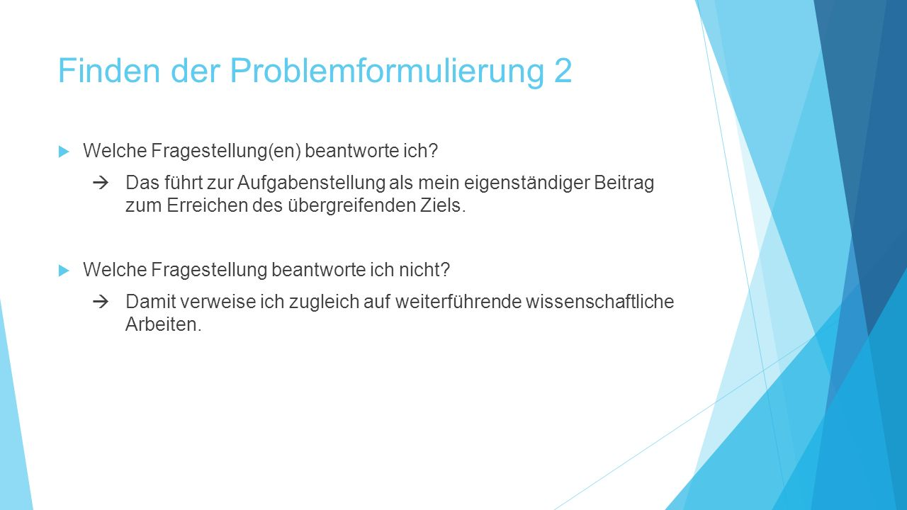 Finden der Problemformulierung 2