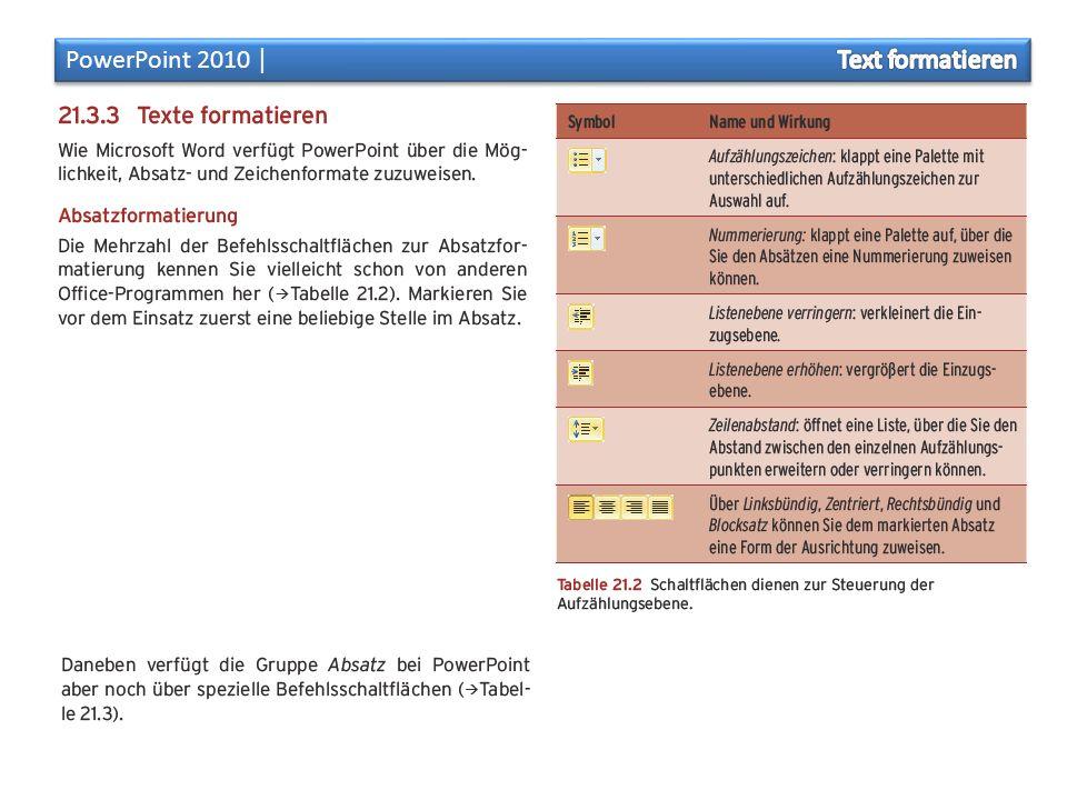 PowerPoint 2010 │ Text formatieren