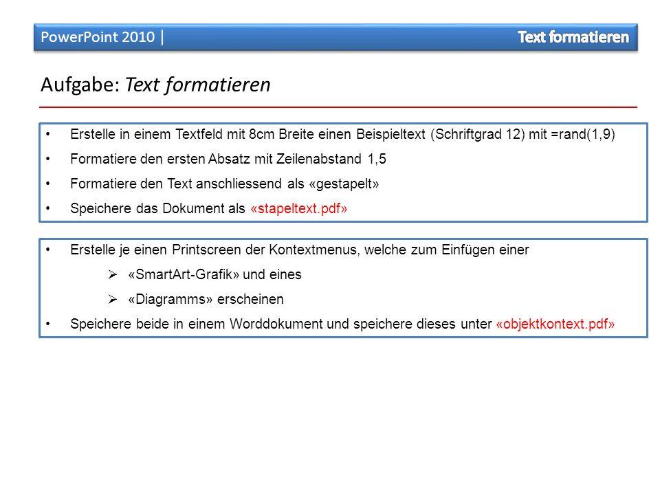 Aufgabe: Text formatieren
