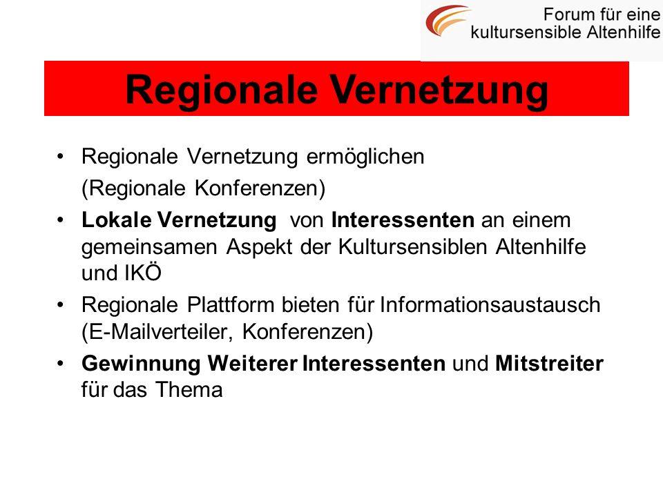 Regionale Vernetzung Regionale Vernetzung ermöglichen