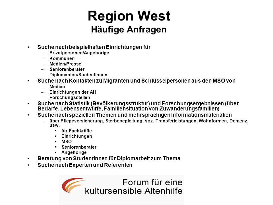 Region West Häufige Anfragen