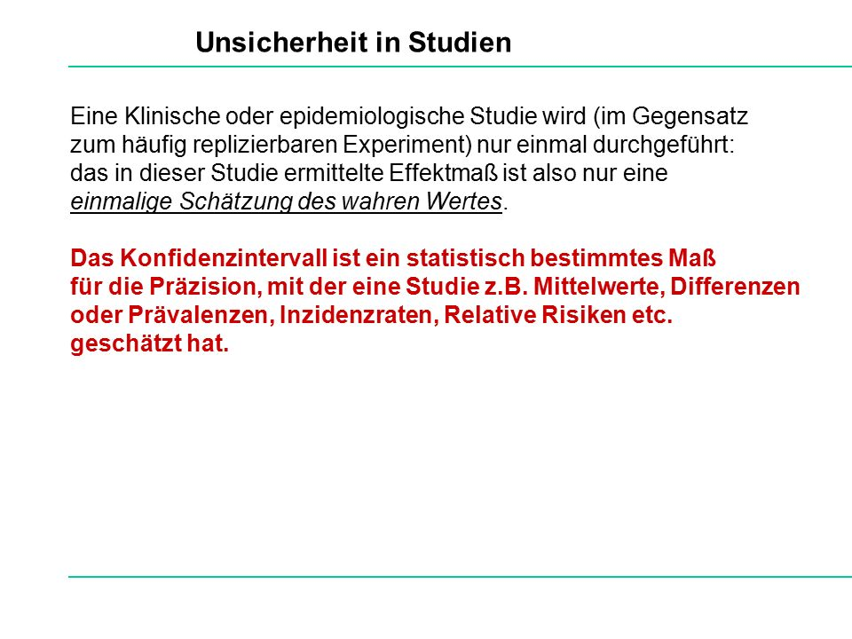 Unsicherheit in Studien