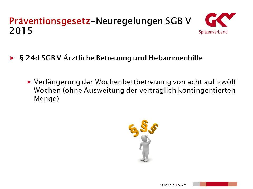 Präventionsgesetz-Neuregelungen SGB V 2015