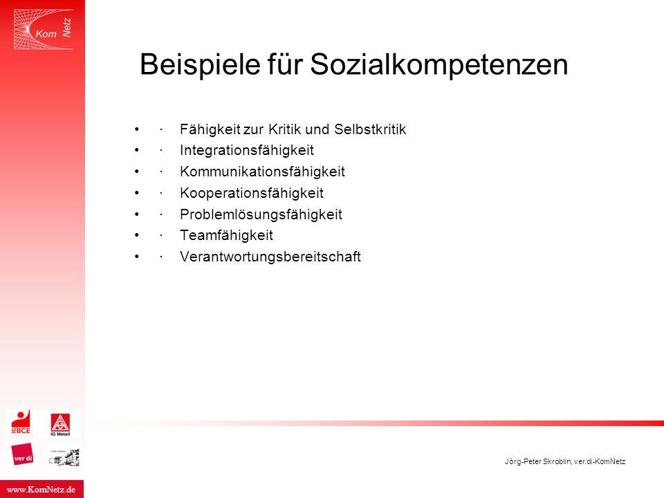 Beispiele für Sozialkompetenzen