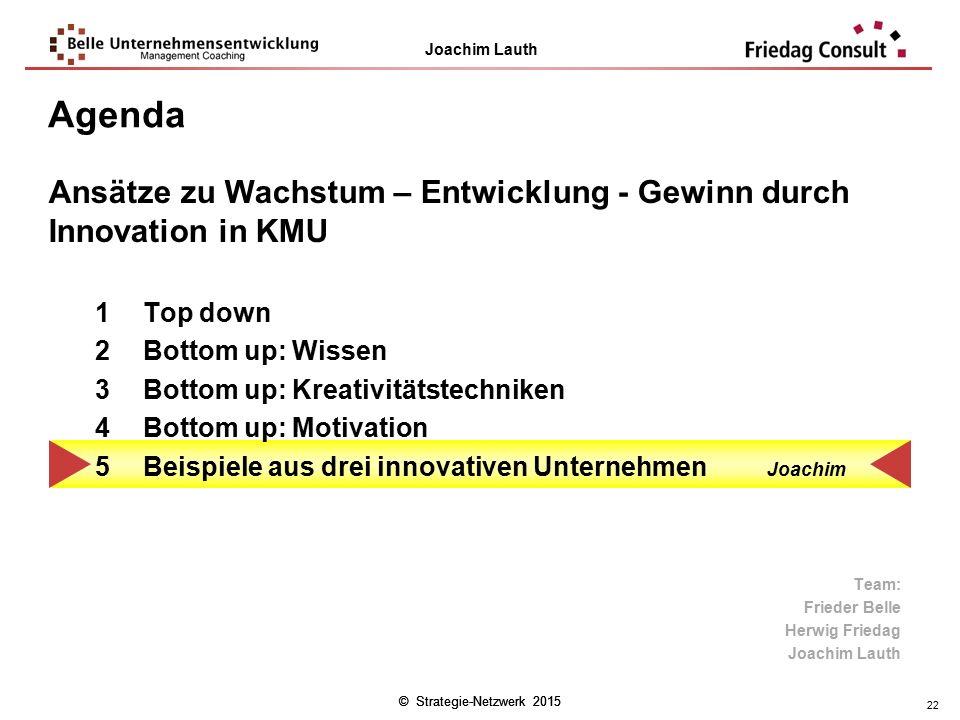 Agenda Ansätze zu Wachstum – Entwicklung - Gewinn durch Innovation in KMU. Top down. Bottom up: Wissen.
