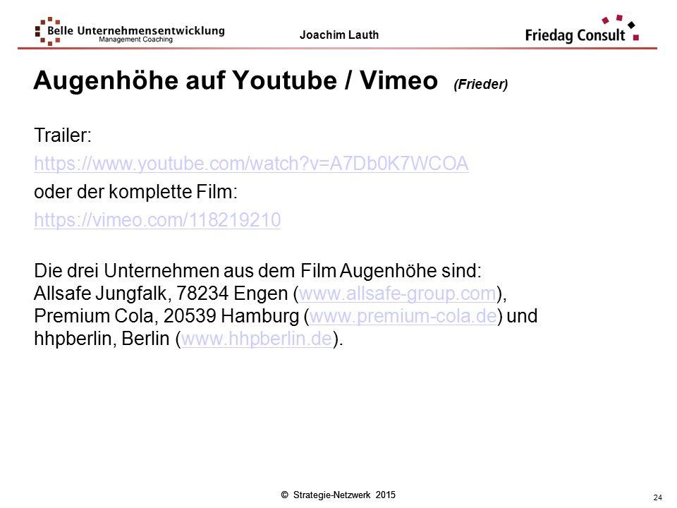 Augenhöhe auf Youtube / Vimeo (Frieder)