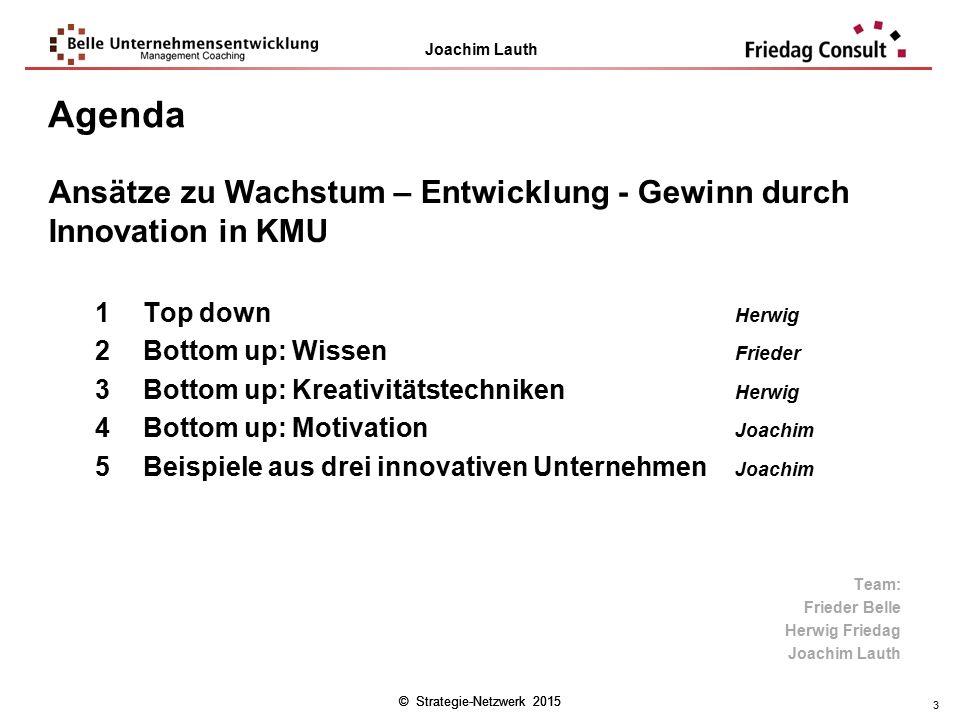 Agenda Ansätze zu Wachstum – Entwicklung - Gewinn durch Innovation in KMU. Top down Herwig. Bottom up: Wissen Frieder.