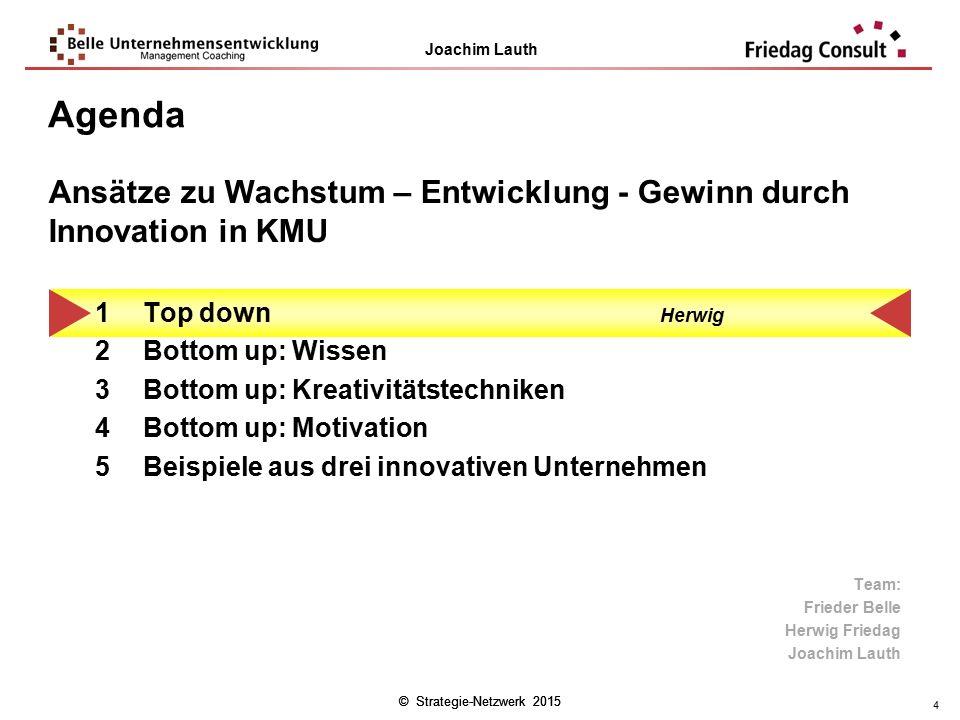 Agenda Ansätze zu Wachstum – Entwicklung - Gewinn durch Innovation in KMU. Top down Herwig. Bottom up: Wissen.