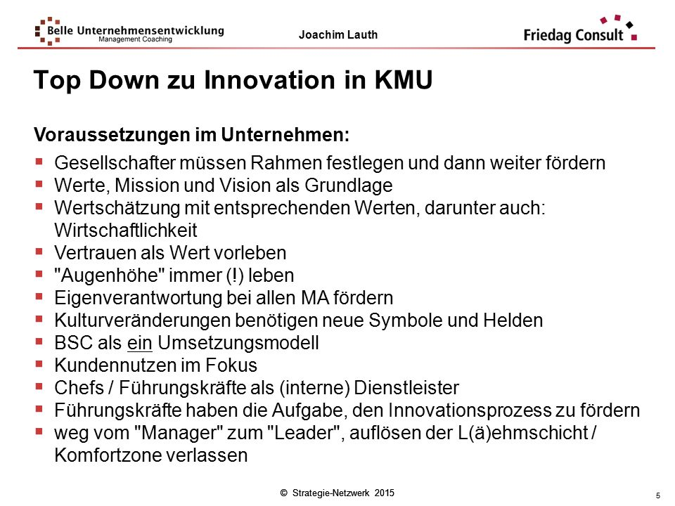 Top Down zu Innovation in KMU