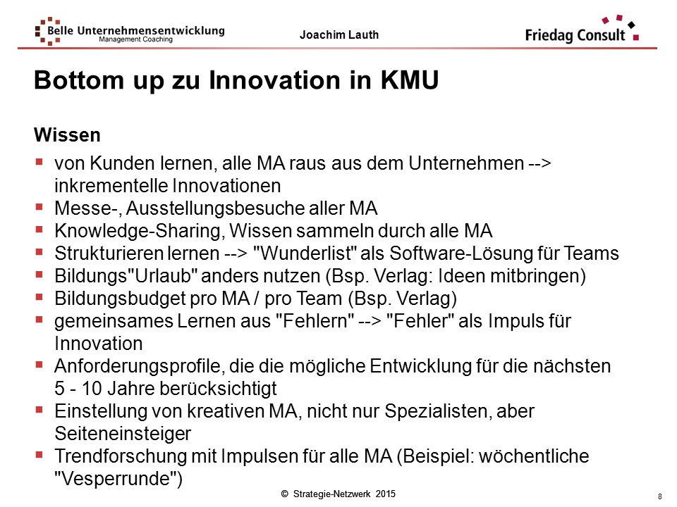 Bottom up zu Innovation in KMU