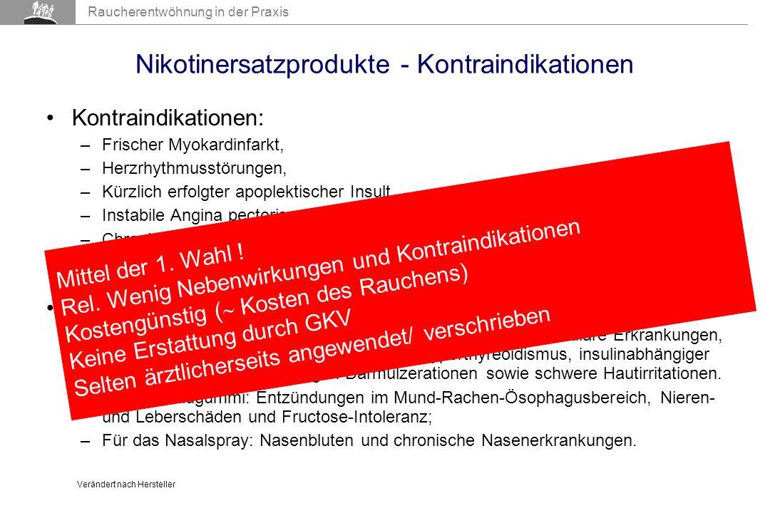 Nikotinersatzprodukte - Kontraindikationen