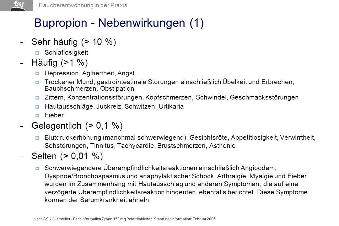 Bupropion - Nebenwirkungen (1)