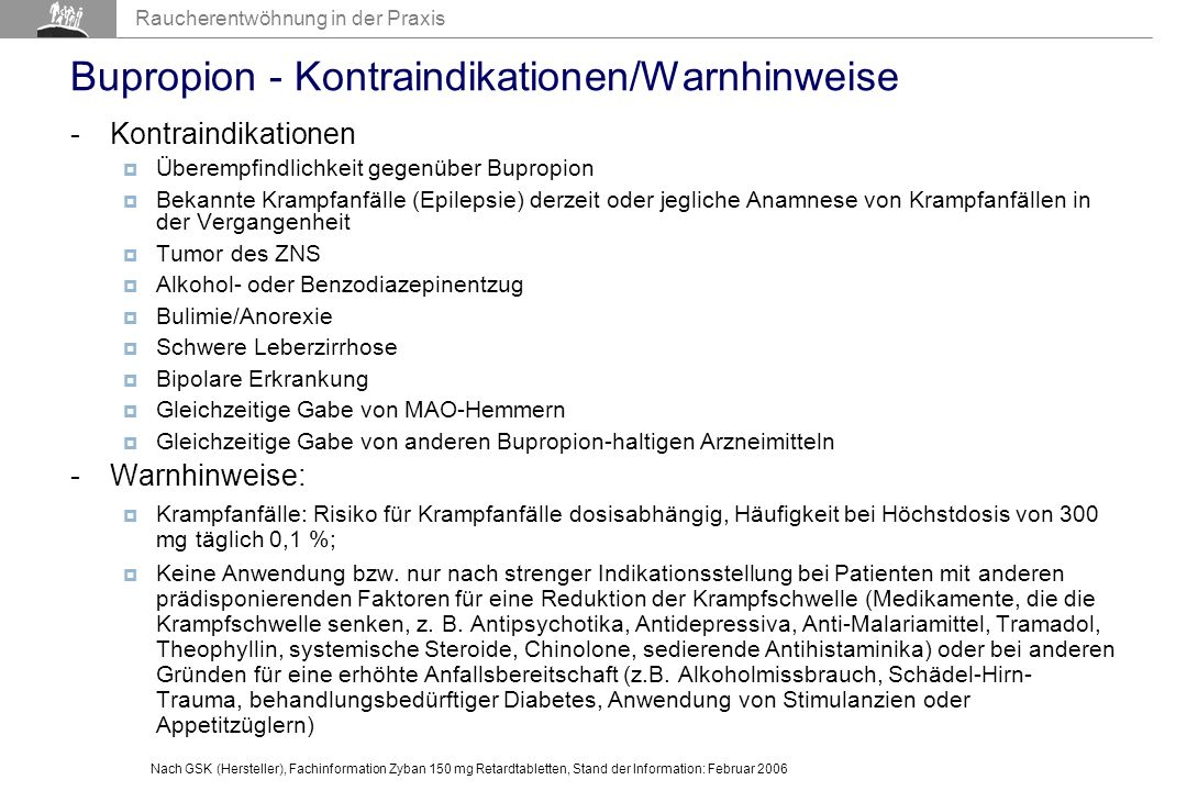 Bupropion - Kontraindikationen/Warnhinweise