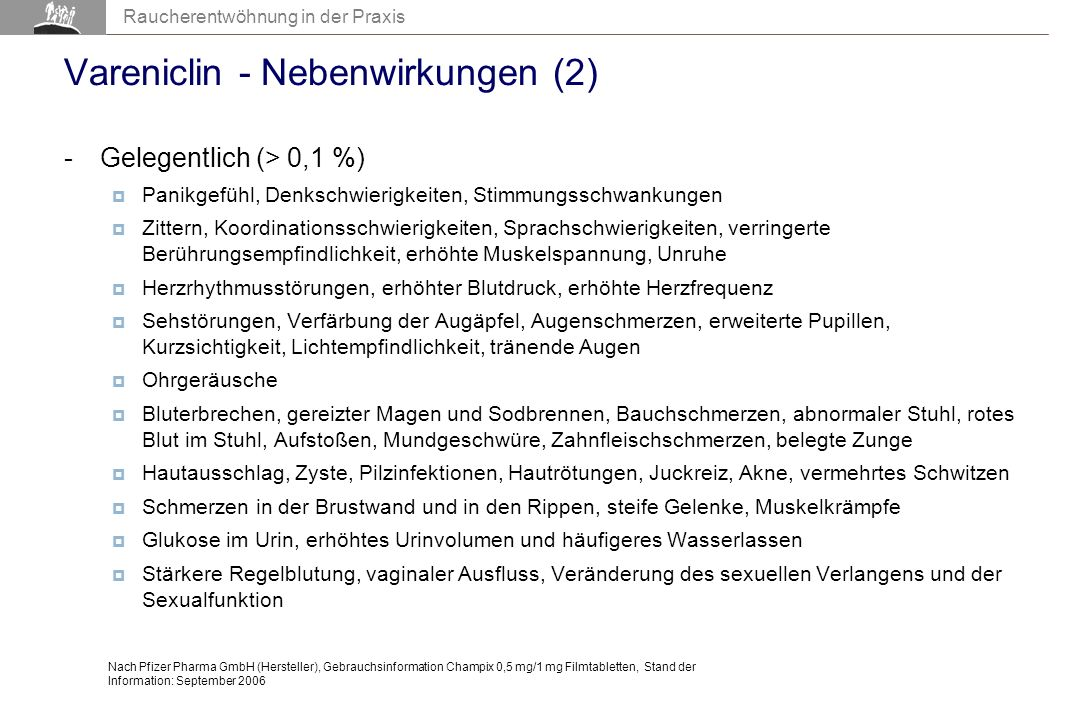 Vareniclin - Nebenwirkungen (2)
