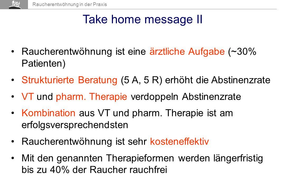 Take home message II Raucherentwöhnung ist eine ärztliche Aufgabe (~30% Patienten) Strukturierte Beratung (5 A, 5 R) erhöht die Abstinenzrate.
