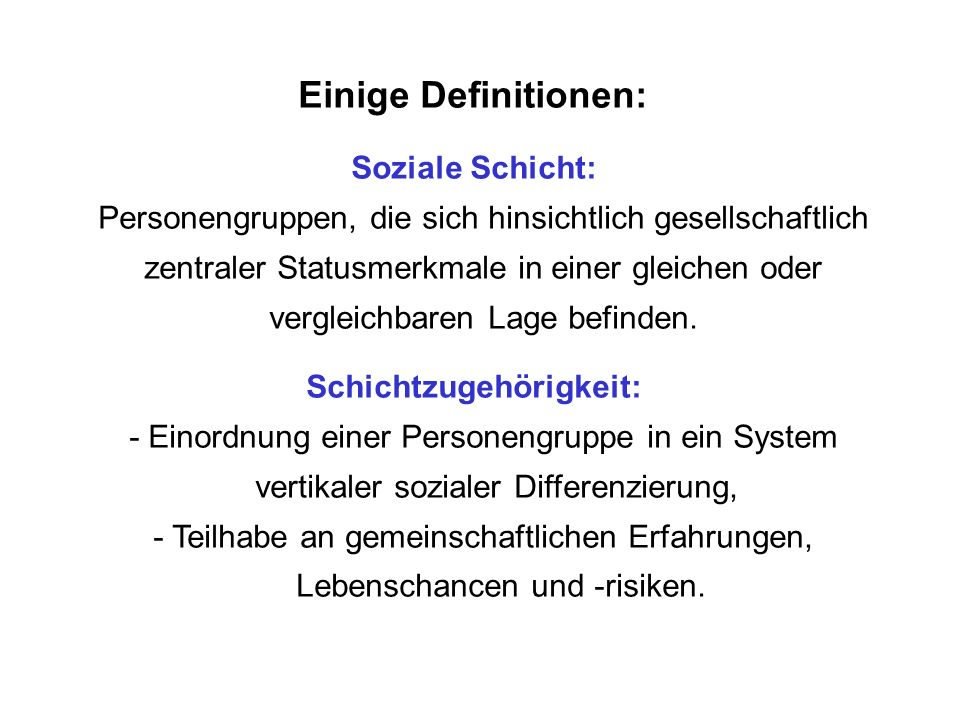 Einige Definitionen: