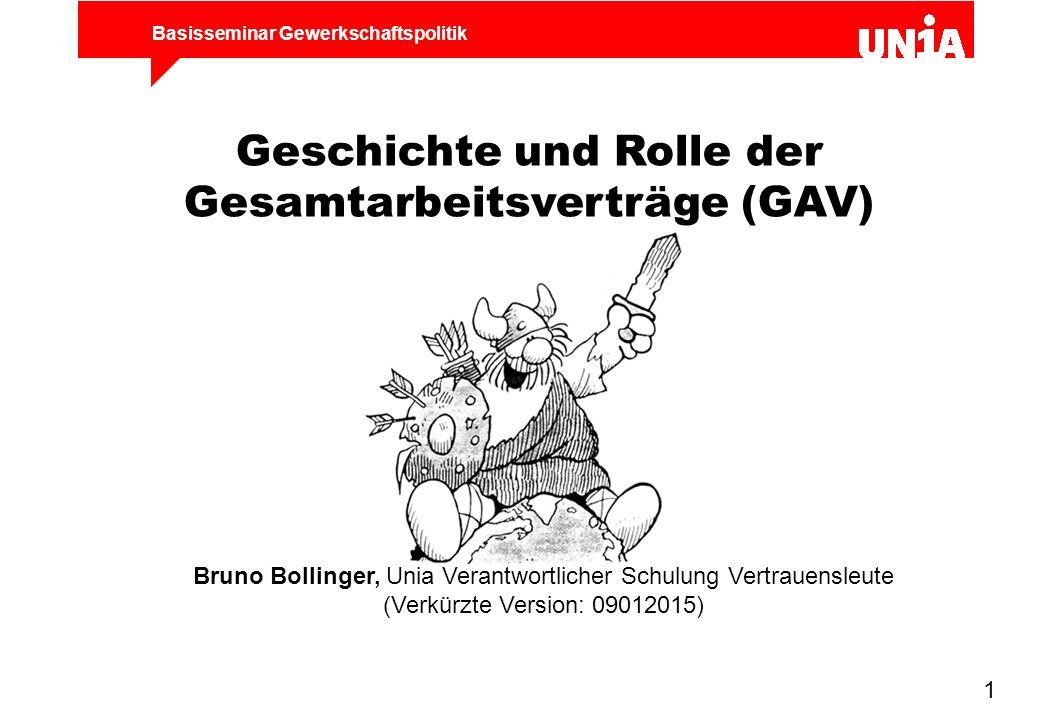 Geschichte und Rolle der Gesamtarbeitsverträge (GAV)
