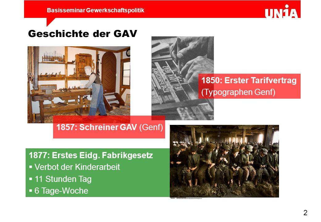 Geschichte der GAV 1850: Erster Tarifvertrag (Typographen Genf)