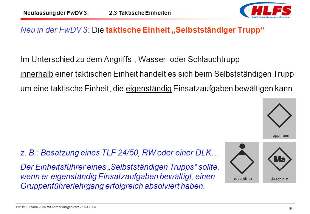 """Neu in der FwDV 3: Die taktische Einheit """"Selbstständiger Trupp"""