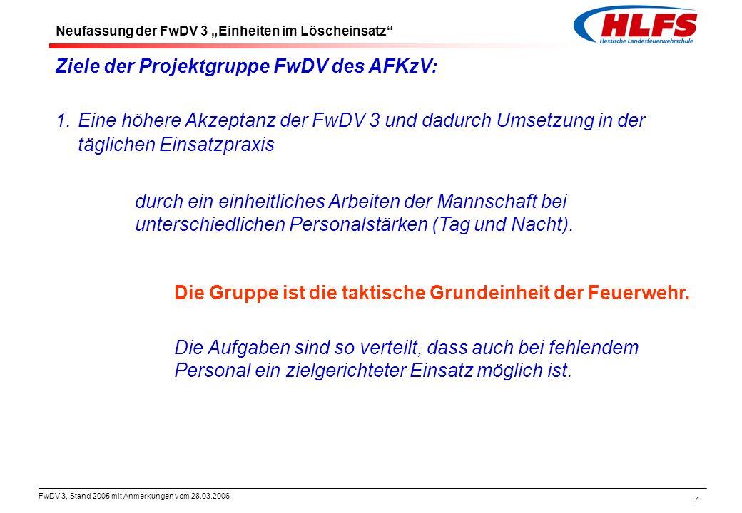 Ziele der Projektgruppe FwDV des AFKzV: