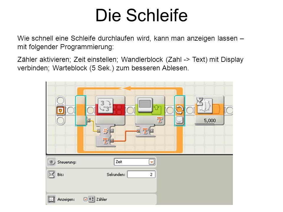Die Schleife Wie schnell eine Schleife durchlaufen wird, kann man anzeigen lassen – mit folgender Programmierung: