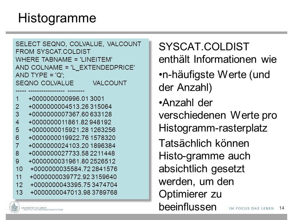 Histogramme SYSCAT.COLDIST enthält Informationen wie