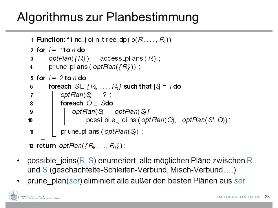 Algorithmus zur Planbestimmung