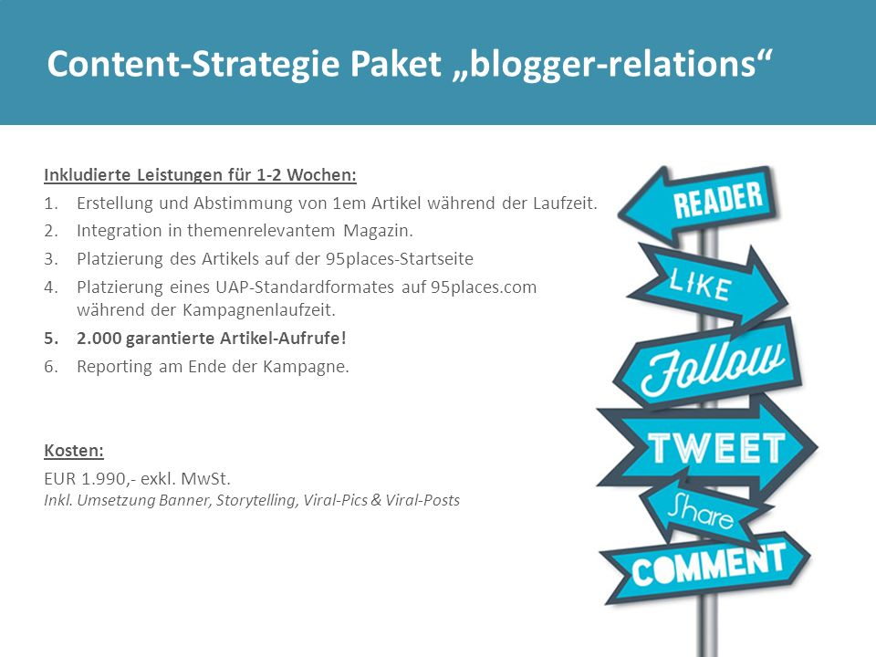 "Content-Strategie Paket ""blogger-relations"