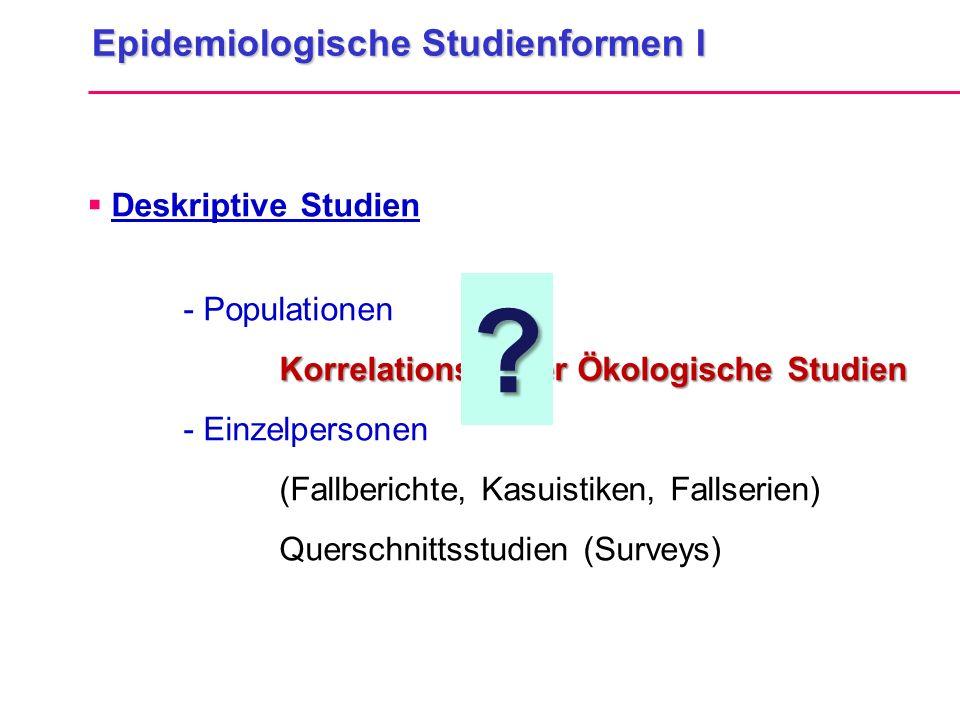 Epidemiologische Studienformen I Deskriptive Studien