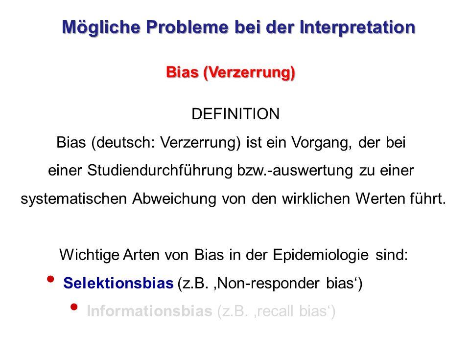 Mögliche Probleme bei der Interpretation