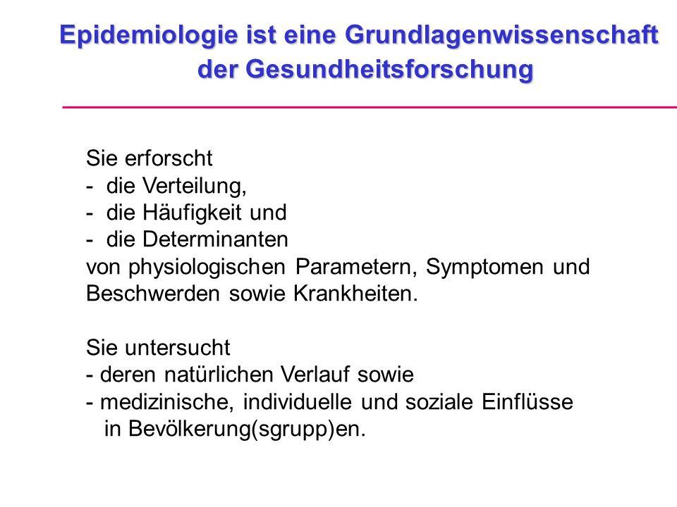 Epidemiologie ist eine Grundlagenwissenschaft der Gesundheitsforschung