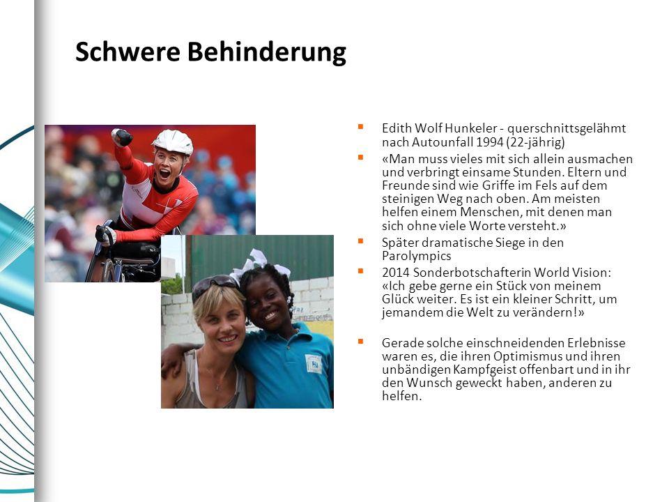 Schwere Behinderung Edith Wolf Hunkeler - querschnittsgelähmt nach Autounfall 1994 (22-jährig)