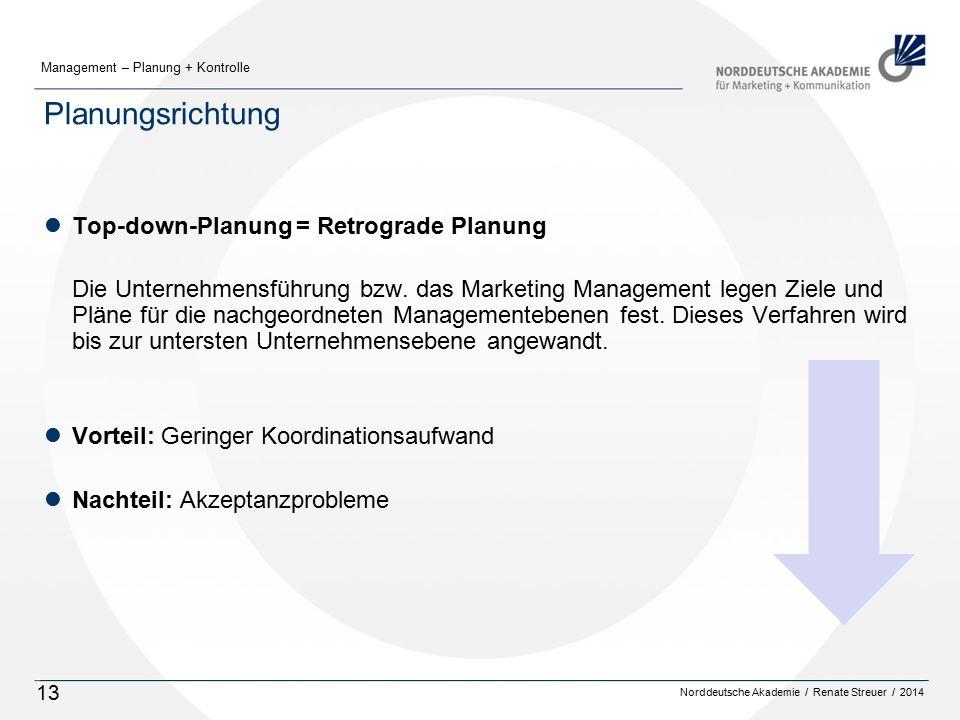 Planungsrichtung Top-down-Planung = Retrograde Planung