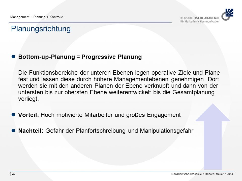 Planungsrichtung Bottom-up-Planung = Progressive Planung