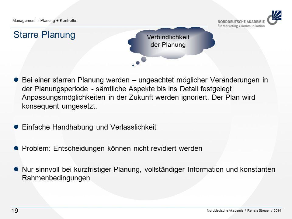 Starre Planung Verbindlichkeit. der Planung.