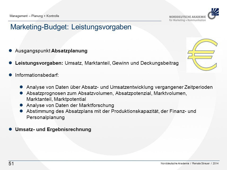 Marketing-Budget: Leistungsvorgaben