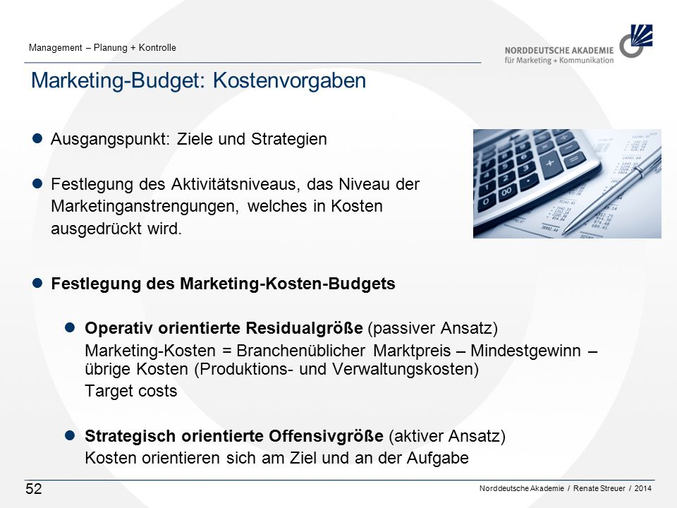 Marketing-Budget: Kostenvorgaben