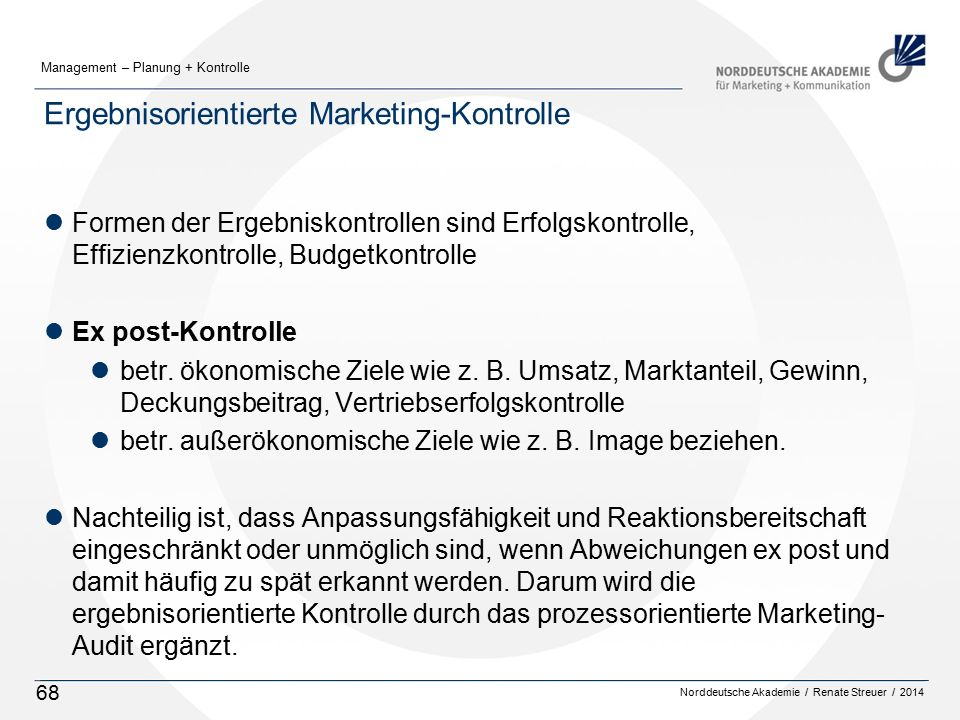 Ergebnisorientierte Marketing-Kontrolle