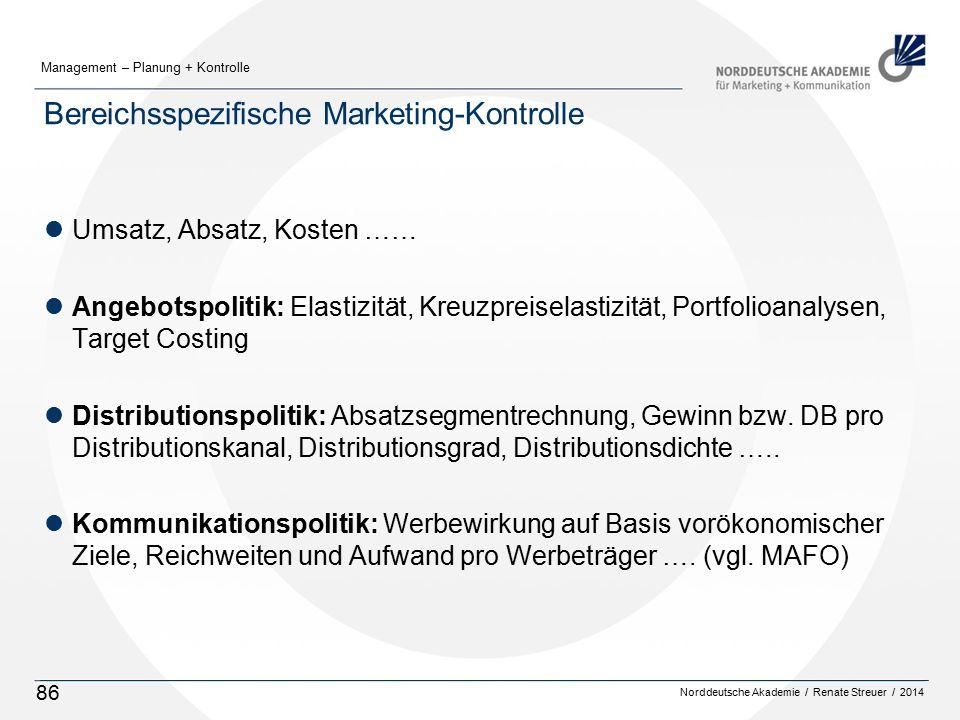 Bereichsspezifische Marketing-Kontrolle