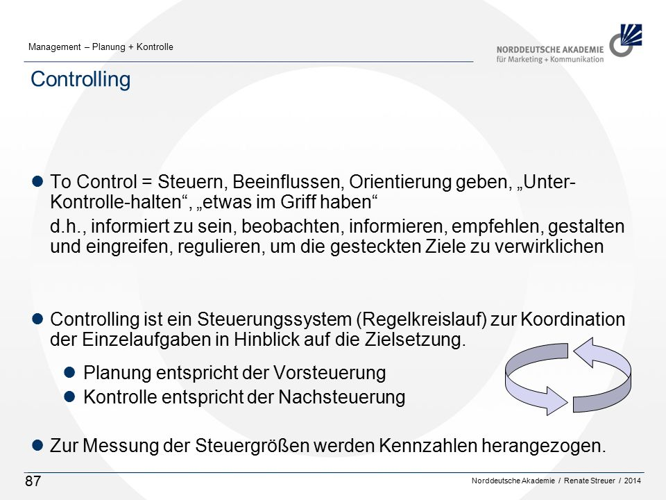 """Controlling To Control = Steuern, Beeinflussen, Orientierung geben, """"Unter-Kontrolle-halten , """"etwas im Griff haben"""