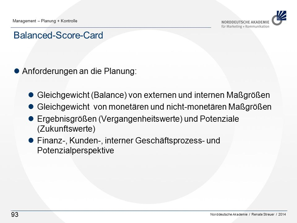 Balanced-Score-Card Anforderungen an die Planung: